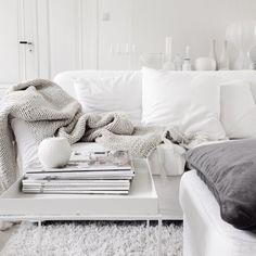 White and light grey living room. Photo by Malin N, via vittvittvitt on instagram