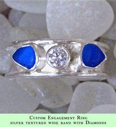 custom_silver_wide_band_diamond, Lisa Hall sea glass jewellery