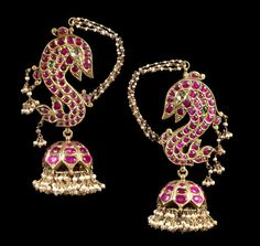 A pair of ruby, emerald and diamond-set Ear Ornaments South India, late 19th Century
