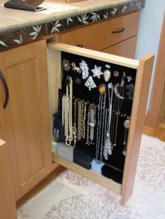 hidden built in jewelry storage-built into the bathroom vanity