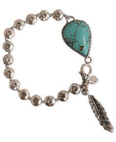 Lucky Brand Bracelet, Silver-Tone Semi-Precious Turquoise Link Bracelet