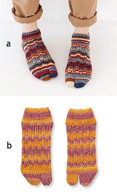 ] Ravelry: Tabi Socks pattern by Pierrot (Gosyo Co. Knitting Charts, Baby Knitting Patterns, Knitting Socks, Knitting Tutorials, Loom Knitting, Free Knitting, Stitch Patterns, Crochet Flip Flops, Crochet Slippers