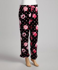Take a look at this Black & Pink Cupcake Plush Pajama Pants - Women by Sleep & Co on #zulily today!