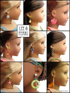 "Make your own JEWELRY for 18"" Dolls, like the amazing earrings our American Girl dolls are wearing! Introducing the Lee & Pearl 2016 FREE Pattern for mailing list subscribers - #1035: Olá Brasil! - which includes a 15 page Introduction to Jewelry Making section. To get your FREE copy of this pattern, join our mailing list at http://www.leeandpearl.com before the end of January, 2017."