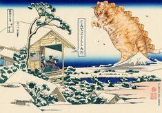 Katsushika Hokusai, Tea house at Koishikawa. The morning after a snowfall. Catzilla attacks. 36 views of Mount Fuji no 11