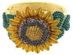 Off Park Collection (Tm) Multicolor Crystal Enamel Gold Tone Sunflower Bracelet Jewelry Bracelets, Jewlery, Jewelry Collection, Rock, Gemstones, Crystals, Antiques, Enamel, Earrings