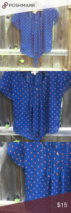 Sheer polka dot scoop neck top, flutter sleeve top Sheer navy top w/ rust orange polka dots, pleated scoop neckline, size small, front pleats with 3 faux buttons, flutter sleeves, keyhole tie at front, mine Tops Blouses