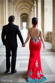 Pre-wedding shoot in Paris. Gorgeous red Chinese wedding gown! Twitter @Pictours Paris by Lindsey Kent