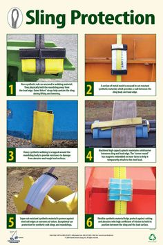 """This colorful poster displays six different material types and methods for protecting synthetic web slings and roundslings. Abrasion resistance vs cut resistance, materials are often confusing to field personnel. Photos and descriptions help your riggers make the right choice. This large, colorful and durable poster is a great value. - 24"""" x 36"""", Poster Pallet Shed Plans, Shed Plans 8x10, Outdoor Storage Sheds, Storage Shed Plans, 6x10 Shed, Lifting Safety, Health And Safety Poster, Loafing Shed, Towing And Recovery"""