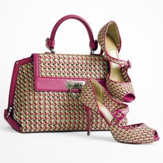 Ferragamo woven leather Sofia handbag and woven leather stiletto sandals with pink patent leather trim.