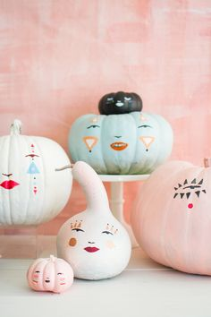 DIY Pastel Pumpkin Faces With a Template - The House That Lars Built