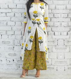Yellow & White Cotton Printed High Low Cape And Palazzo Set