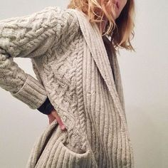 """""""Finally, a mostly finished (still buttonless) #exetercardigan. Haven't taken it off for two days."""""""