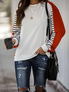 White Color-Block Casual Sweatshirt – linenlooks White Women, Types Of Sleeves, Nice Tops, Blouse, Casual, Pullover, Sweatshirts, Long Sleeve, Clothes