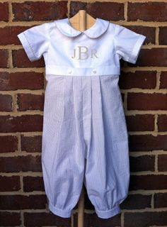 Boys Benjamin Romper.....Seersucker One-piece Outfit with Monogram, beautiful boy's outfit from Etsy shop LILAandG