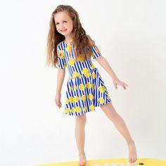 MYE girls One-piece swimsuit lemon print dresses striped blue beachwear for girls Children's swimwear for young girls