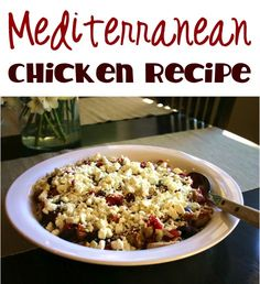 Mediterranean Chicken Recipe! Omit rice, increase chicken, add olive oil, lower amount of tomato to make LC. Serve over cauliflower rice or eggplant. Sounds delish!