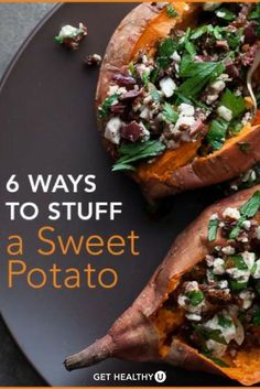Who doesn't love a good sweet potato? They're the perfect fall veggie FULL of healthy vitamins that will help you achieve your autumn healthy eating goals! If you're looking to switch up your #sweetpotato game, try one of these 6ways to stuff your sweet potato!