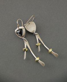 Snowflake Obsidian Wishbone Earrings by MaggieJs on Etsy