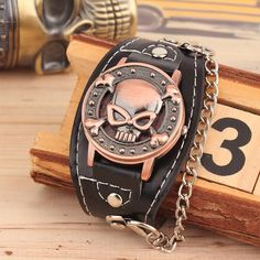 SKULL LEATHER BRACELET WATCH - FREE SHIPPING!