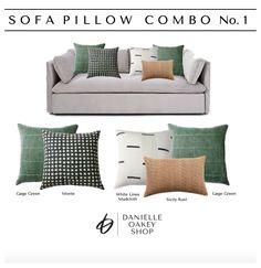 Green Throw Pillows, Sofa Throw Pillows, Living Room Pillows, Cushions On Sofa, Daybed Pillow Arrangement, Fall Living Room, Green Sofa, Decoration, Handmade Pillows