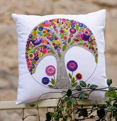 Mini Tree of Life Cushion by Wendy Williams – Red Thread Studio
