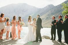vintage, lake convict wedding, lace wedding dress, tuxedo, outdoor wedding inspiration, peach bridesmaid dresses