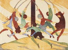 Ethel Spowers (Australian, 1890-1947) The Giant Stride Linocut printed in yellow ochre, reddish brown, viridian and cobalt blue, 1932-33, an excellent impression, on buff oriental laid tissue, signed, titled and numbered 9/50 in pencil, with margins, 260 x 353mm (10 1/4 x 14in)(B)