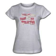 IH Farmall Womens Gray T-Shirt - Trade Husband for Tractor