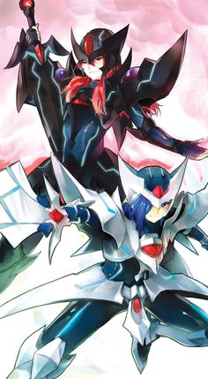 Ren riding as Blaster Dark; Aichi riding as Blaster Blade