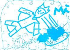 Dibujo Ciencia Ficción (Hombre volando) hecho por Max.