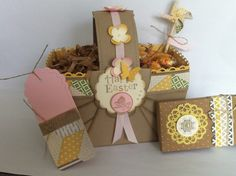 Easter Basket using Stampin Up products. Made from a 12x12 piece of crumb cake, various dies, tags and new pinwheel die.