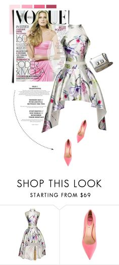 """""""Floral Dress"""" by luvsassyselfie ❤ liked on Polyvore featuring Fendi, Salvatore Ferragamo, white, Pink and floraldress"""