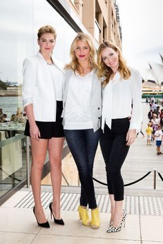 Kate Upton in a J Brand blazer, Cameron Diaz, and Leslie Mann in Bionda Castana heels at a Sydney The Other Woman press event.