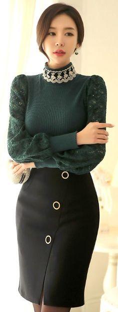 Gold Ring Detail Front Slit Pencil Skirt #koreanfashion