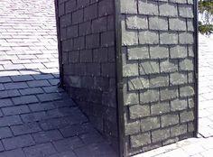 detalle chimenea rematada con tornavientos en torrelodones Garage Doors, Sidewalk, Outdoor Decor, Home, Fire Places, Slate Roof, House Staircase, San Jose, Side Walkway