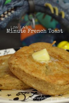 Low Carb Minute French Toast My notes: Don't add butter to the mix. Use the tiny square dish. Microwave for 1 min 30 sec. Fry in a pan with 1-2 Tbsp butter.