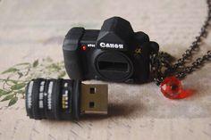 Canon 4g usb flash drive - a mini camera necklace (LAST PIECE AVAILABLE). $25.00, via Etsy.