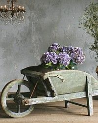 Vintage Shabby French Patina Green Wheelbarrow Display-Antique, Lilac, wood, tin, plants, garden, 1930s,