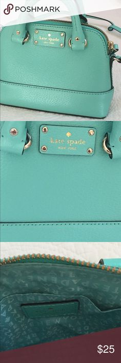 Kate Spade NY Cedar St Mini Maise Crossbody Teal leather Crossbody bag with dome silhouette, 14K gold plated hardware, signature lining, interior wall pocket, zip closure, top carry handles and cross body strap. New without tags kate spade Bags Crossbody Bags