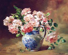 Rosas em Porcelana Chinesa - Pintura de Anne Cotterill - Escócia