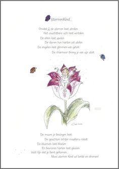 (Helaas uitverkocht) Wenskaart ` Sterrenkind....` Dutch Words, Love Messages, Baby Time, Little Princess, First Love, Poetry, Quotes, Cards, Van