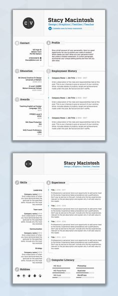 CV Design CV Template Resume Design Resume Template - microsoft word template resume