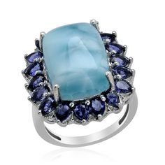 Liquidation Channel: Larimar, Iolite, and Diamond Ring in Platinum Overlay Sterling Silver (Nickel Free)
