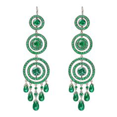 FRED LEIGHTON Emerald Concentric Circle Drop Earrings