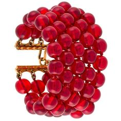 Chanel Vintage five tier beaded bracelet ($1,352) ❤ liked on Polyvore featuring jewelry, bracelets, red, accessories, chanel, vintage bangles, vintage metal jewelry, chanel jewelry, beaded bangles and red jewelry