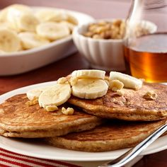 Get the delicious taste of banana bread at breakfast time. Go over the top and serve the pancakes with sliced bananas, chopped walnuts and maple syrup.