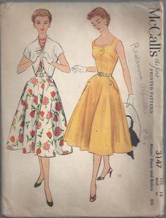 1950s Dress Pattern Vintage McCall's Bolero Misses by SelmaLee