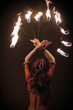 fire dancer at a wedding