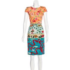 Pre-owned Mary Katrantzou Floral Print Silk Dress ($245) ❤ liked on Polyvore featuring dresses, orange, flower pattern dress, colorful dresses, floral print dress, multi-color dress and multi coloured dress